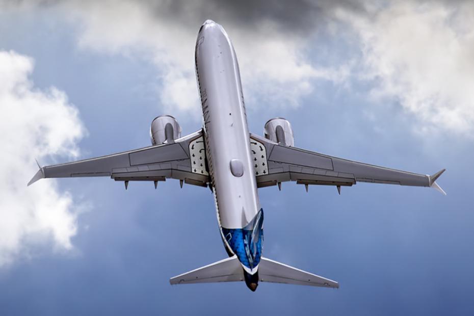 Boeing 737 plane in flight